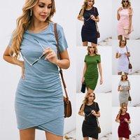Vestidos informales 2021 Moda de verano Slim-Fit-Fit de manga corta Vestido de mujer irregular1
