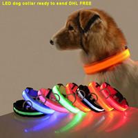 Nylon LED Cane Colletto di Sicurezza notturna Luce di sicurezza lampeggiante Glow in the Dark Small Dog Pet Guinzaglio Cucciolo di Collari per cucciolo di sicurezza lampeggiante Collare per cani Designer