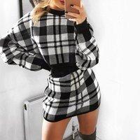 Misswim Casual Plaid Party Kleid Frauen Gestrickte Langarm Checkde Kleider Damen Zwei Teil Anzug Herbst Sexy Bodycon Kleid Y200418