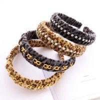 Leopard Faux Piel Hairband con cadena DIEADOR DE RHINESTONE PARA MUJERES ACCESORIOS PARA EL PELO