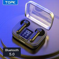 TopK T20 TWS Bluetooth 5.0 Auricolari senza fili Cuffie senza fili Impronte digitali Toccare Sport Auricolari impermeabili Auricolari con microfono