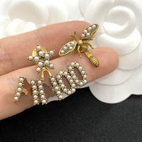 Pequenas Brincos Assimétricos Abelhas Mulheres Sterling Silver Needle 2020 Novos Brincos de Brincos de Letra Nicho