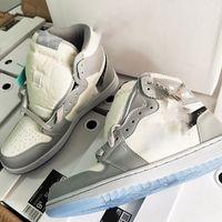 dior x nike Air Jordan 1 High OG AJ1 무료 배송 새로운 공식 공식 공개 기념일 협업 회색 흰색 프랑스 패션 스타일 라벨 김 존스 운동화 신발 크기 36-45