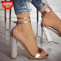2020 Yeni Bayan Topuklu Ayak Bileği Kayışı Pompalar Kare Topuklu Bayan Rhinestone Yüksek Sandalet Tacones Salto 35-43 569 # VU81
