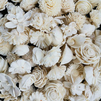 Variedade de flor de madeira sola 60pcs, flores de madeira, flor artificial para decoração. Y1128.