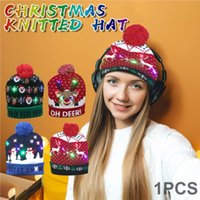 25#New Merry Christmas Adult Kid knitting LED Light-up Christmas Hats Xmas Santa Hat Lights Flashing Cap Children Hat Xmas Gift