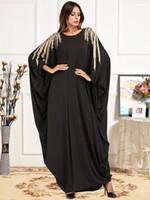 Abiti casual foglie d'oro Embroorere perline maxi vestito per le donne caduta 2021 manicotto a batwing arabo musulmano tacchino Dubai Dressing G