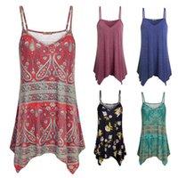 Womens lenço hem flower impresso top t-shirt casual praia verão espaguete cinta camisoles tanque