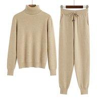 Bygouby Two Piece Ensemble Femmes Tracksuits épais femmes chaudes Turtleneck pull + tricot harem pantalon automne vêtements d'hiver pour femmes LJ201117