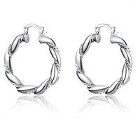 Charm klä upp flicka silver smycken hoop örhänge europeisk stil kreativ twisted rep round för kvinnor utsökt git present1