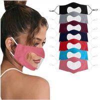Face Deaf Lip Heart Language Mute Mask Leopard Visible Shaped Transparent Dustproof Hanging Ear Loop Face Cover DDAza
