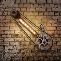 Wandleuchte Schmiedeeisen Loft Vintage Wasserleitung Getriebe Bar Fahrradkette