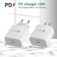 Type-C 18W PD 빠른 충전 18 월트 전원 QC3.0 FAST Wall Charger 휴대 전화 충전기 USB-C 포트 아이폰 12 삼성