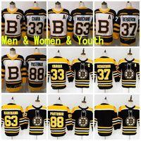 Mulheres Jovens Boston Jersey Bruins Hóquei 37 Patrice Bergeron 63 Brad Marchand 88 David Pastrnak 33 ZDo Chara Charlie McAVoy Preto Branco