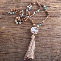 RH Fashion Boho Ювелирные Изделия Натуральные камни Длинные завязанные цепные доски каменные кисточки ожерелья бросают1