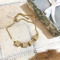 Новый стиль Золотой модный браслет письмо Высочайшее качество Латунный материал звезда Полный бриллиант браслет Форма хвоста Pull Bracte