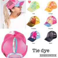 뜨거운 새로운 패션 모자 여성 여름 넥타이 염료 포니 테일 야구 모자 디자이너 다시 여름 그물 캡