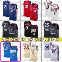 Ben 25 Simmons Jersey Joel 21 Embiid Formalar Allen 3 Iverson Jersey Gerileme Basketbol Formaları F32HJD