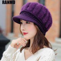 Ranmo 패션 겨울 비니 모자 여성을위한 단단한 두꺼운 모피 따뜻한 양모 모자 야외 스포츠 여성 가을 니트 비니 모자
