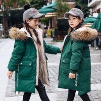 Daunenmantel Wintermäntel Mädchen Oberbekleidung Kinder Waschbär Pelzkragen Weiße Jacken Dicke Warme Mantel Kinder 6-12 Jahre Outwear Kinder