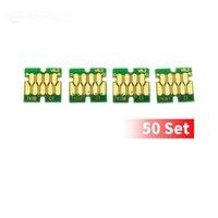 50 sets / lot 4-color-set t7411-T7414 T741X Fichos de cartucho de tinta para EPSON SC-F6070 F7100 F7170 F6200 F6300 F9270 ETC Instalación del tanque de tinta