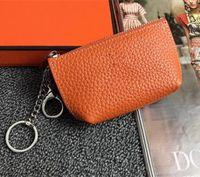 bags Unisex Magro Zipper Coin Carteira de couro Design de Moda Homens Mulheres da letra Senhoras Cadeia moeda titular bolsas Com Orange Box