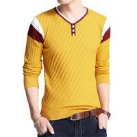 Browon Brand-свитер осенью мужская кнопка V-воротника тонкие упругие свитера пуловер мужские вязаные 201214