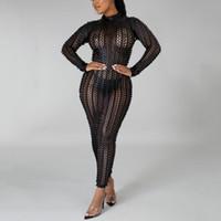 Vestidos casuais preto festa sexy noite vestido 2021 buraco manga comprida ver através da cintura alta noite noite vestidos mujer