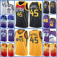 Donovan 45 Mitchell Rudy 27 Gobert John 12 Stockton Karl 32 Malone Mike 10 Conley UtahJazz2020 2021 novo jersey de basquete branco