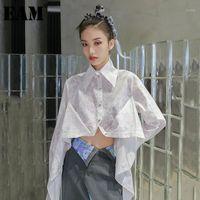 [EAM] Kadınlar Büyük Boy Düzensiz Desen Baskılı Bluz Yaka Uzun Kollu Gevşek Fit Gömlek Moda Gelgit İlkbahar Sonbahar 2020 1DD02371