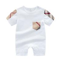 Ropa de bebé Plaid Bow Mober Modysuit Outfit Outfit Cotton Newborn Summer Manga corta Romper Kids Designer Infant Sumpsuits