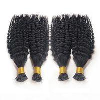 Stick pré-collé Je tire des extensions de cheveux humains Kinky bouclés brésilien cheveux vierges 1G S 100G balck brun blonde kératine extensions de cheveux