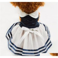 TUTU Dentelle Sailor Robes de chien Stripes Jupe pour chiens Dress 6071012 Pet Princesse Vêtements en gros ZJT5O