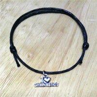 Alliage de zinc Antique Argent Plaqué Lettre populaire I Love Gymnastique Coeur Cire String Charme Bracelet Bijoux