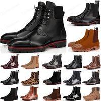 Nuovo 2021 stile rosso Bottoms Sneaker uomo Boot Spikes pelle scamosciata in pelle rossa Sole scarpe da uomo Super perfetto melone moto caviglia boot per uomo