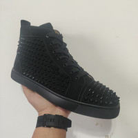 2020 Top Qualité Red Bottoyum Hight Coupées Spikes Appartements Chaussures pour hommes Femmes Sneakers Sneakers Casual Chaussures de cassette avec sac à poussière
