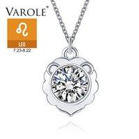 Varole LEO 12 Signos del zodiaco Collares de cadena para las mujeres Collares de cristal Colgantes Joyería de moda Trendy Ropa Accesorios