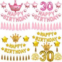 Флаг Организация вечеринка Украсить Статьи баннер 30 лет День рождения Счастливый набор еды Алюминиевая фольга Баллон заводской фабрики прямые продажи 19 8SH P1