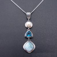 Antike Design 925 Sterling Silber Anhänger Blau Natürliche Larimarblue Topas Czpearl Larimar Lange Tropfen Halskette Für Frauen