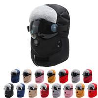 Erkekler Kadınlar Kış Sıcak Cap Kalınlaşma Kürk Şapka Şeffaf Lens Ile Açık Havada Moda Lady Trapper Şapkalar Earmuff 16 5T J2