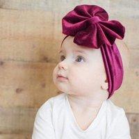الطفل الذهبي المخملية كبيرة القوس رباطات الصلبة الاطفال bowknot الأميرة مصفوفة مرونة الرضع headwrap بوتيك اكسسوارات للشعر