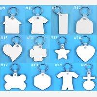 빈 승화 키 체인 키 체인 홀더 MDF 나무 양면 열 전송 열 인쇄 DIY 사진 열쇠 고리 펜던트 DHL e120302