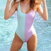 Kadın Tulumlar Tulum Moda Patchwork Bodysuit Seksi Backless Tulum Kadınlar Push Up Bikini Vücut Takımı Yaz Plaj Kayışı Tulum Kayak