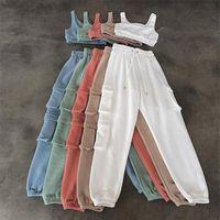 Serbatoio sportivo solido e pantaloni antipasti Due pezzi Set da due pezzi Donne senza maniche Allenamento Casual Workout Logewear Taskesuits tasca