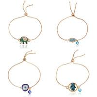 Мода эмаль удача слонов браслеты для женщин Hamsa рука о любви письмом Турция Голубое злое очарование глаз золотые цепи браслет доверие 81 к2