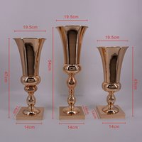 Mariage Metal Bougeoir Bougeoir Gold Vase Stand Decoration Table Centre-Centrale Party Fleur Rack Road Diriger XHSDMU