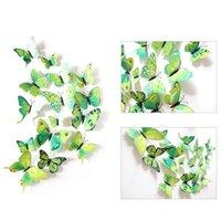 12pcs 3d borboleta adesivo de parede pvc simulação estereoscópica borboleta adesivo de geladeira ima de geladeira arte decalque ri jllwxv garden_light