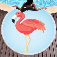 Özelleştirilebilir 150 * 150 cm Flamingo Plaj Havlusu Polyester Goblen Yuvarlak Yoga Mat Püskül Plaj Şal Wrap Mat Havlu Piknik Bezi BC 138 J2