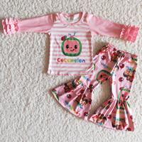 2021 Venta caliente Baby Girls Ropa Boutique Bell Outfits Fondo Rosa Ropa Linda Ropa Leche Seda Venta al por mayor Ropa Niños Moda Juego de niños