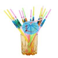 Manual Papel Umbrella Cóctel de Paja Beber Evento de Boda Fiesta de vacaciones Suministros Barras Decoraciones Barras Pajitas desechables WQ320